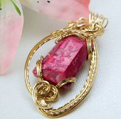 Wire Wrapped Pendant with 14 kt Gold by alyssakaycollections, $70.00