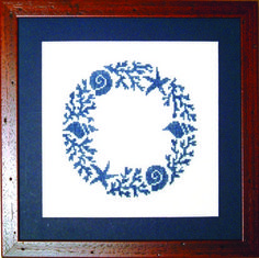 seashell wreath in cross stitch