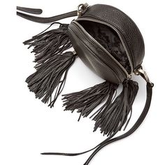 "Rebecca Minkoff Leather Fringe Purse Rebecca Minkoff Crossbody purse. A circular silhouette bag. Adjust the strap to use it as a shoulder bag or remove it to carry as a clutch. Genuine leather. 22"" adjustable strap drop. Silver hardware. One interior slip pocket. Black. Photo credit Rebecca Minkoff. Price firm. Rebecca Minkoff Bags Crossbody Bags"