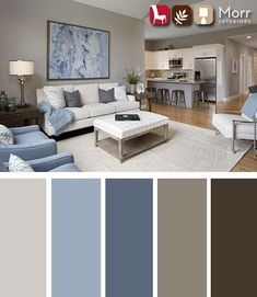 21 Living Room Color Schemes That Express Yourself. These living room color schemes will affect how the guests perceive the interior of your home. Let's enjoy these ideas and feel pleasure! Living Room Color Schemes, Living Room Grey, Living Room Furniture, Living Room Designs, Modern Furniture, Brown And Blue Living Room, Grey Living Room Ideas Colour Palettes, Brown Furniture, Furniture Ideas