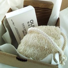 Gift set with natural olive oil soap, loofah and wooden soap dish.