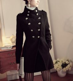 Women's Black Coat Long Wool Jacket Double-breasted overcoat Jacket Autumn winter coat cloak Outwear S-XL