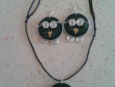 bijoux avec capsules nespresso, boucles d'oreilles et collier hiboux