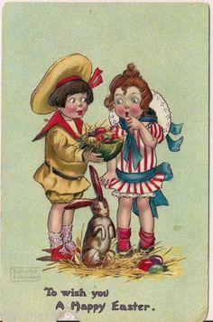 Vintage Unused Easter Postcard Artwork by Katherine Gassaway
