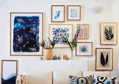 Cool Anthropologie art collection blue wall art gallery