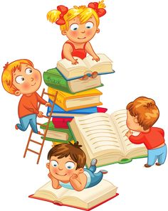 Cartoon drawing of children in the sea of books PNG and Clipart