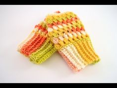 How to Crochet Puff Stitch Fingerless Gloves - YouTube