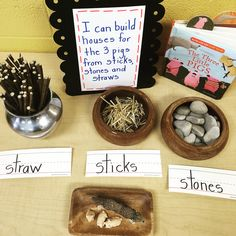 Story retell Reggio inspired After listening to the story The Three Little Pigs we are using straw, sticks and stones to build houses we hope the big bad wolf … Preschool Classroom, Literacy Activities, Kindergarten Activities, Preschool Activities, 3 Little Pigs Activities, Fairy Tale Activities, Preschool Lessons, Reggio Emilia Classroom, Reggio Inspired Classrooms