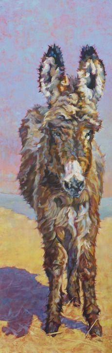 """Daily Painters Abstract Gallery: Donkey Art,Equine Painting, """"OZ"""" by Western Masters Artist Patricia A. Griffin"""