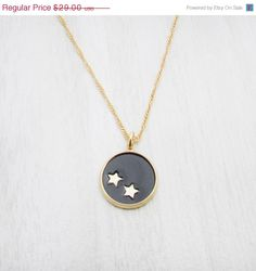Summer Sale Stars necklace leather necklace circle by Punchaos, $20.30