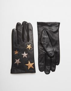 ASOS+Leather+Gloves+With+Star+Design+And+Touch+Screen