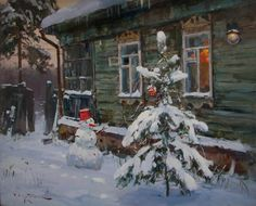 Свиридов Сергей. Где все? - Скоро праздник! New Year Pictures, Winter Pictures, Christmas Pictures, Painting Snow, Winter Painting, House Painting, Colorfull Wallpaper, New Year Art, Nostalgic Pictures