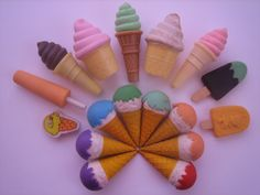 Ice cream erasers - some of them were scented too.