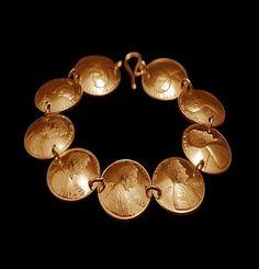 copper. vintage coin bracelet.