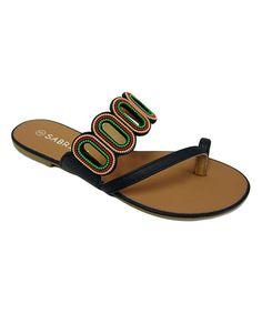 Tropic Shoe Black Cutout-Strap Sandal by Tropic Shoe #zulily #zulilyfinds