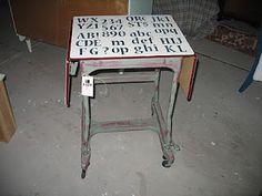 Letters stenciled on vintage typewriter table Furniture Redo, Repurposed Furniture, Antique Furniture, Painted Furniture, Old School Desks, Diy Computer Desk, Antique Typewriter, Heart Painting, Vintage Typewriters