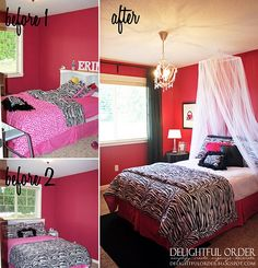 Hot Pink, Black and White Girls Room