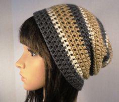 mens crochet fedora pattern free | Items similar to Crochet Slouchy Hat Beanie Rasta Camel Gray and Off ...