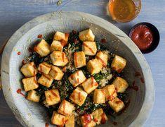 Kale and Quinoa Salad With Tofu and Miso Recipe - NYT Cooking Fried Quinoa, Miso Recipe, Yogurt Curry, Pesto Sandwich, Healthy Stir Fry, Kale Pesto, Roasted Mushrooms, Crispy Tofu, Roasted Salmon