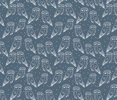 Owls - Payne's Gray by Andrea Lauren fabric by andrea_lauren on Spoonflower - custom fabric