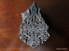 Indian wood stamp pottery stamp Fabric print by charancreations