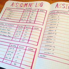 school bullet journal assignment log breakdown