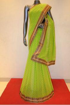 Silk Chiffon Saree    Product Code: AA215035
