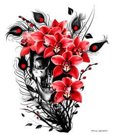 """""""Sugar Skull"""" is a digitally illustrated image of a skull surrounded by Orchid flowers and Peacock feathers with the use of a Black, White and Red colour template."""