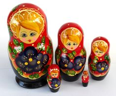 """Suri"" Red and Blue 5 piece Russian Nesting Dolls"
