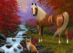 Arabian horse red fox fall autumn creek forest limited edition aceo print art #Realism