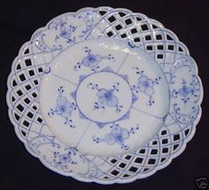 Antique 1800s Greiner & Sons Rauenstein Germany Blue Reticulated Porcelain Plate
