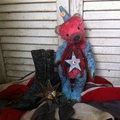 Antique, primitive style, mohair, Americana, Patriotic, teddy bear from Brady Bears Studio. On eBay.