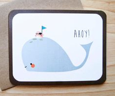 Walter the Whale and Pirate Bird FriendHello/Ahoy Card by LeTrango, $4.00