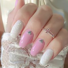 Pink and white rounded coffin nails