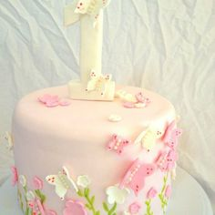 Butterfly First Birthday Cakes For Girls Girls First Birthday Cake, Butterfly Birthday Cakes, Baby Birthday Cakes, Butterfly Cakes, Birthday Ideas, Sugar Cake, Cake Pictures, Girl Cakes, Cute Cakes