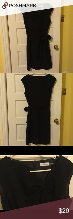 Black Calvin Klein dress with asymmetric neckline Sleek black Calvin Klein sheath dress, perfect for the office/interviews/looking boss for brunch. Cool asymmetric neckline. Calvin Klein Dresses