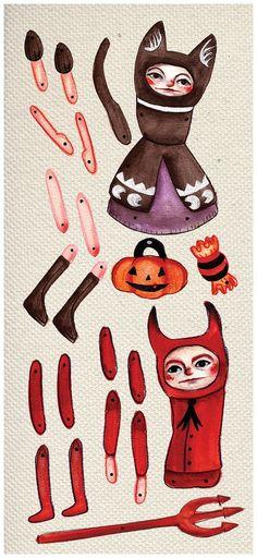 Poupées de papier Halloween
