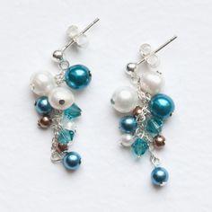 Teal Grape Cluster Earrings