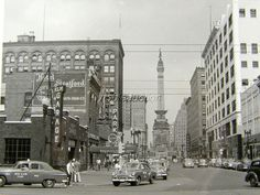 1950's Downtown Indianapolis Market St Capitol Ave Cabs Hotel Photo Snapshot   eBay