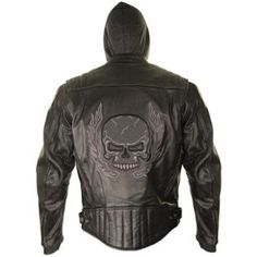 Xelement Mens Armored Leather Motorcycle Jacket with Skull Embroidery and Hoodie
