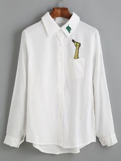 White Giraffe Embroidered Dip Hem Shirt