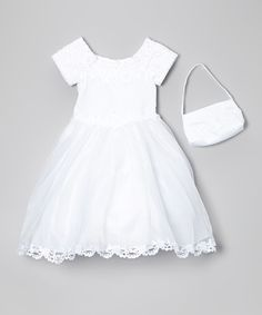 This Angels New York White Rhinestone Lace Dress & Handbag - Girls by Angels New York is perfect! #zulilyfinds