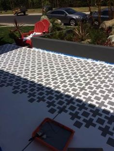 Learn How To Stencil A Pretty Patio A DIY stenciled patio using the Square Plus Stencil. Perfect Patio, Brown Wicker Patio Furniture, Brick Patios, Painting Concrete, Paint Concrete Patio, Wood Patio, Stencil Concrete, Painted Patio, Diy Patio