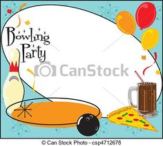Vector - Kids Bowling Party Invitation - stock illustration, royalty free illustrations, stock clip art icon, stock clipart icons, logo, line art, EPS picture, pictures, graphic, graphics, drawing, drawings, vector image, artwork, EPS vector art