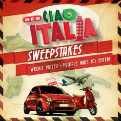 Change to Buena Fortuna! Enter for the chance to win a Fiat, Vespa, Trip to Italy and H-E-B gift cards! Don't miss the delicious Italian recipes. Visit heb.com/italy to enter and for official rules. Sweepstakes ends 10/11/2016.  #contest