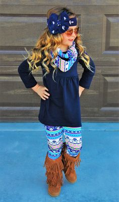 Navy Skull Aztec 3pc Scarf Set #boutique-outfits #new #perfect-sets