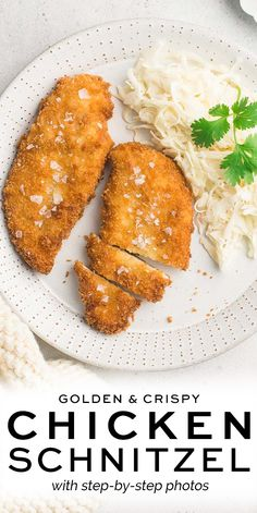 Chicken Schnitzel with step-by-step photos | Eat, Little Bird #schnitzel #chickenschnitzel #pouletschnitzel Yummy Chicken Recipes, Yum Yum Chicken, Turkey Recipes, Lunch Recipes, Great Recipes, Dinner Recipes, Favorite Recipes, Healthy Recipes, Lunches And Dinners
