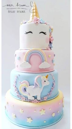 Awesome unicorn and rainbows layered birthday cake design Birthday Cake Girls, Unicorn Birthday Parties, Birthday Design, Beautiful Cakes, Amazing Cakes, Girl Cakes, Savoury Cake, Cute Cakes, Creative Cakes