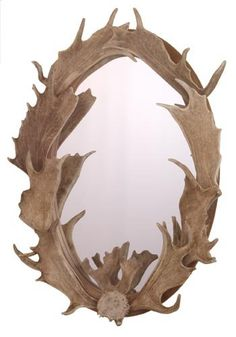Fallow deer antler oval mirror. A completely unique décor item. No two ever the same. All naturally shed antlers. High Country Arts. #mirror #homedecor #lodge
