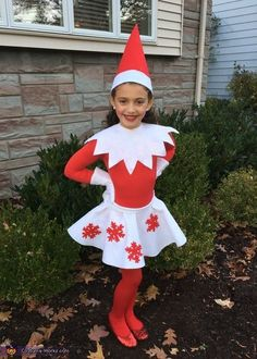 Kristin: My daughter Taylor Garibell loves Christmas and her elf on the shelf. She wanted to have a costume that matched her elf Cherry!.